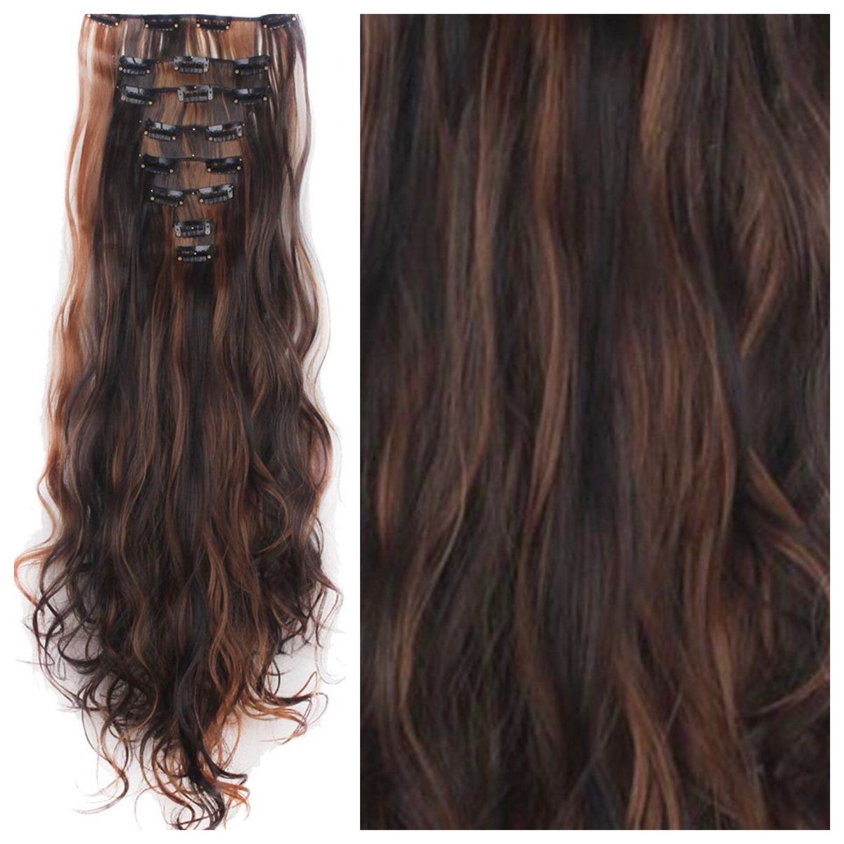 Brown Hair With Copper Highlights Clip In Hair Extensions Remy