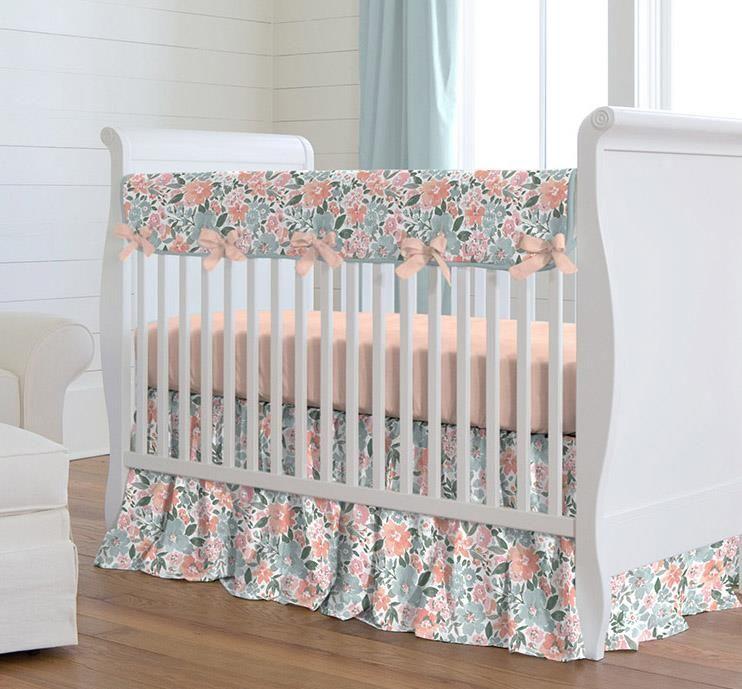 Peach And Blue Prairie Crib Bedding Crib Bedding Girl Floral