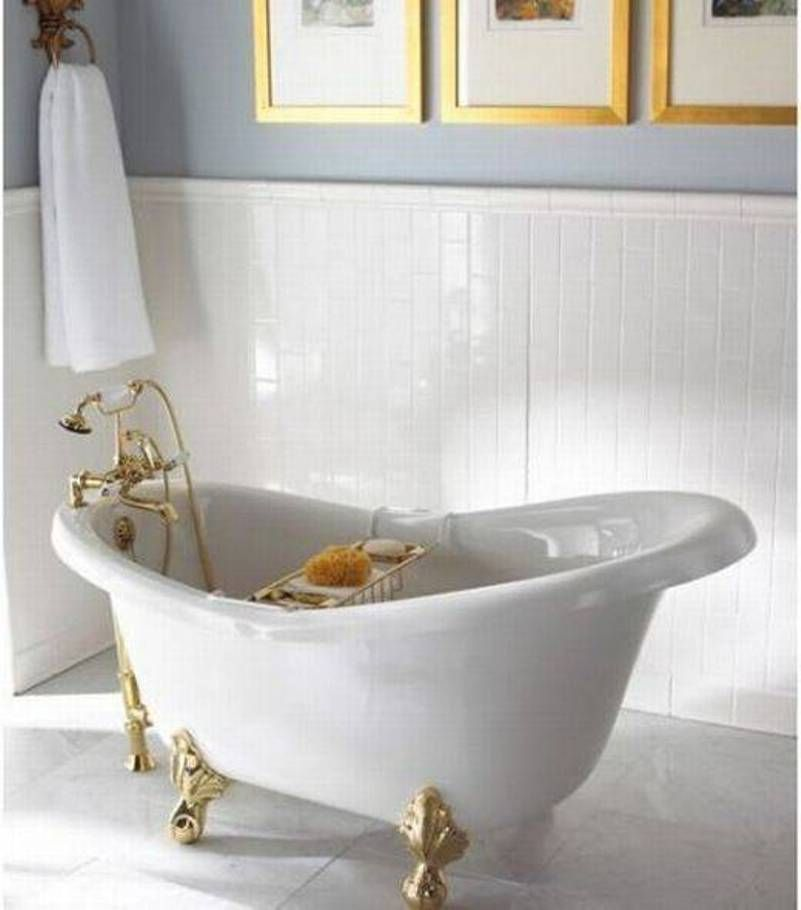 Bathroom , Bathroom Claw Foot Tubs : White Claw Foot Tubs With Golden Legs
