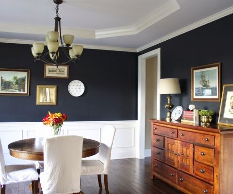 absolutely love this navy blue color in our dining room. sherwin