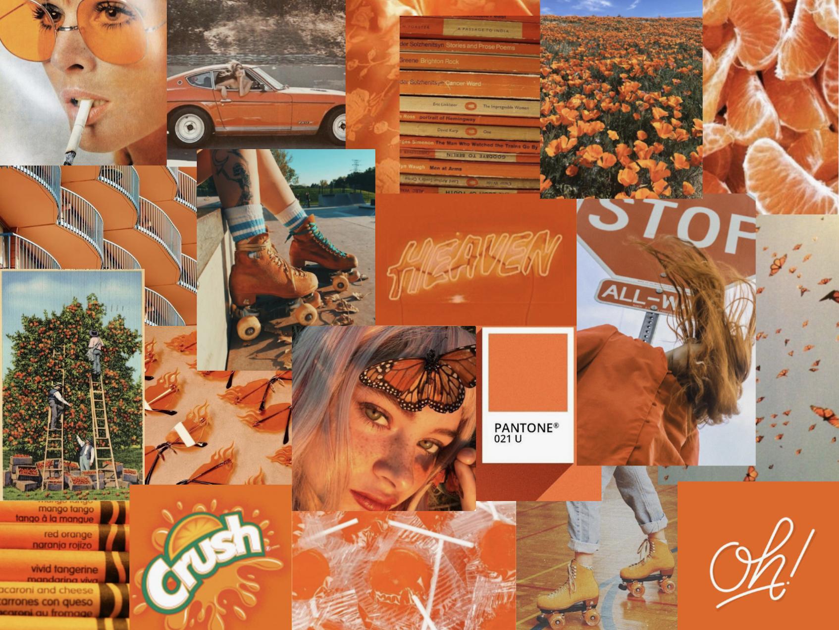 Orange Computer Wallpaper In 2020 Aesthetic Desktop Wallpaper Orange Wallpaper Laptop Wallpaper