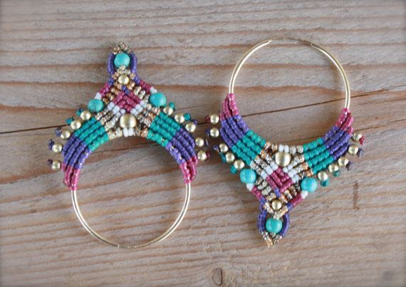 micro macrame large tribal hoop earrings purple by yasminsjewelry