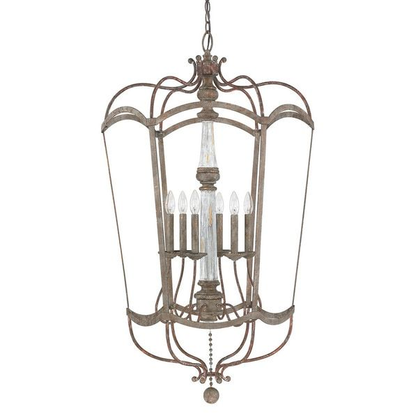 Austin allen company zoe collection 6 light french antique foyer pendant