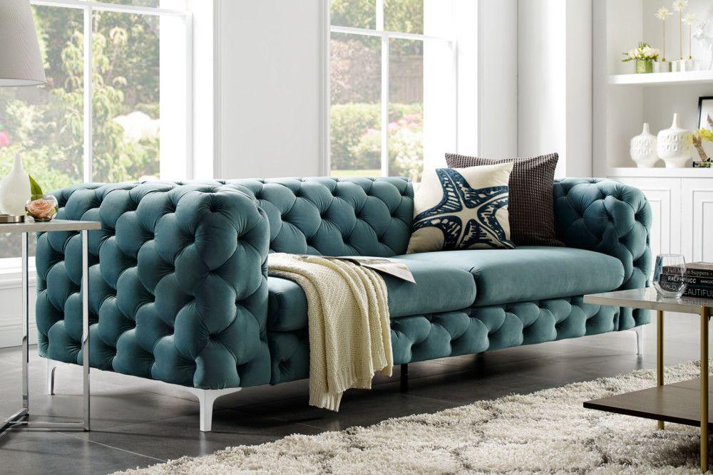 Extravagantes Samt Sofa Modern Barock Aqua 3 Sitzer Chesterfield Design Riess Ambiente De Living Room Sofa Design Sofa Design Living Room Colors