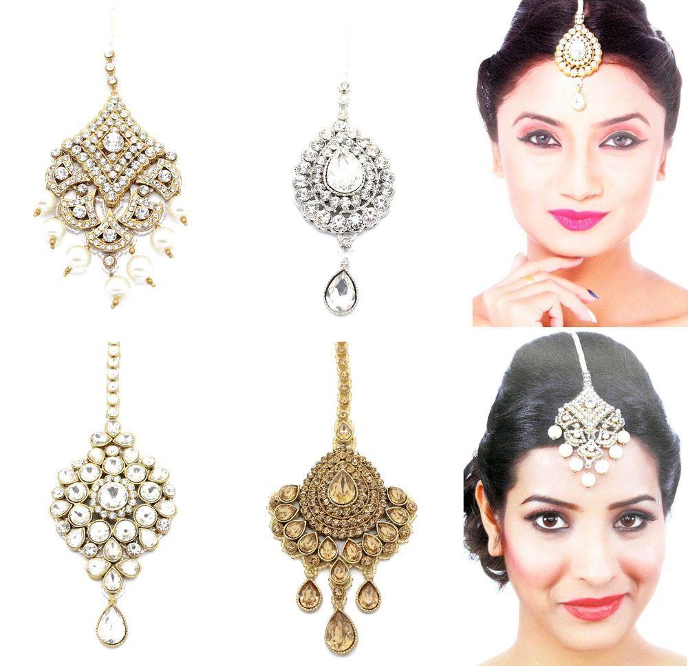 details about gold lct kundan indian head hair tikka