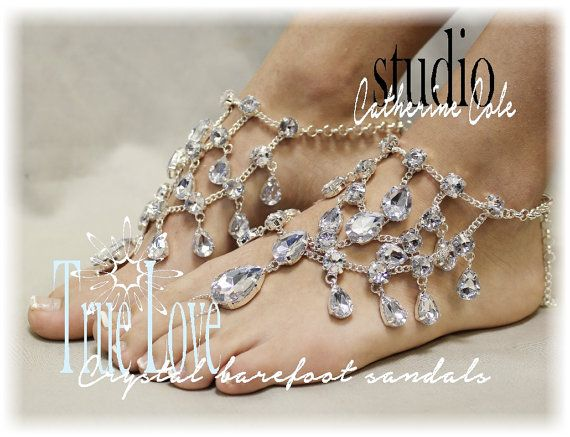 CRYSTAL Barefoot sandals bridal foot jewelry barefoot sandle