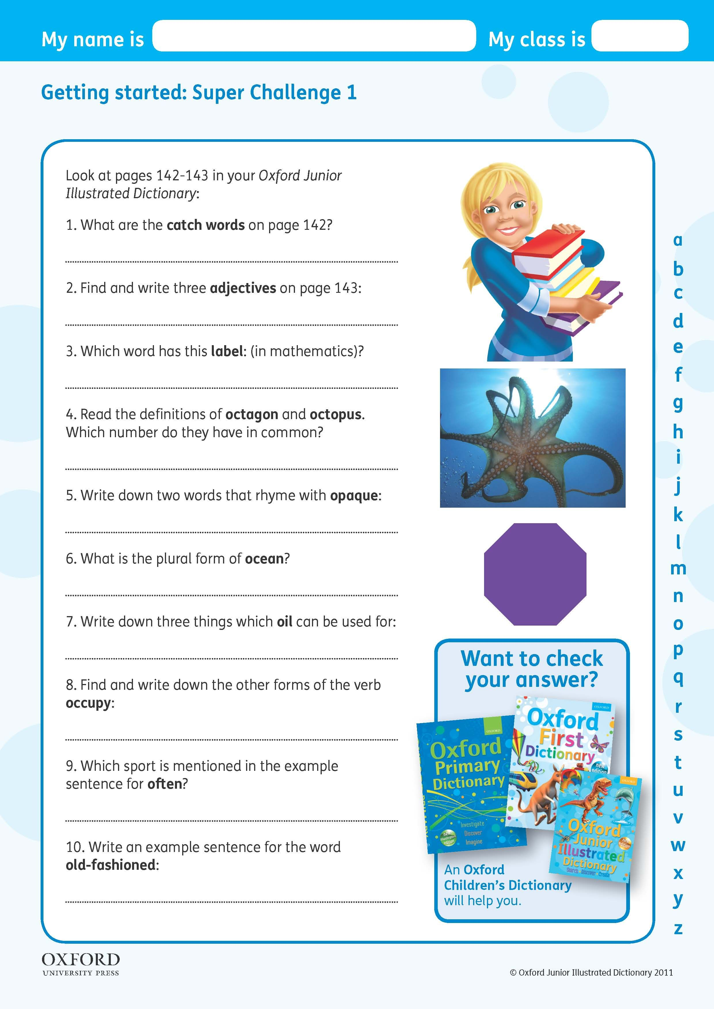 Download Your Free Oxford Junior Illustrated Dictionary Challenge Worksheet