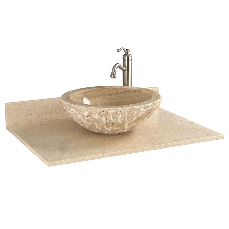 "31"" x 22"" marble vessel sink vanity top | vessel sink and products"