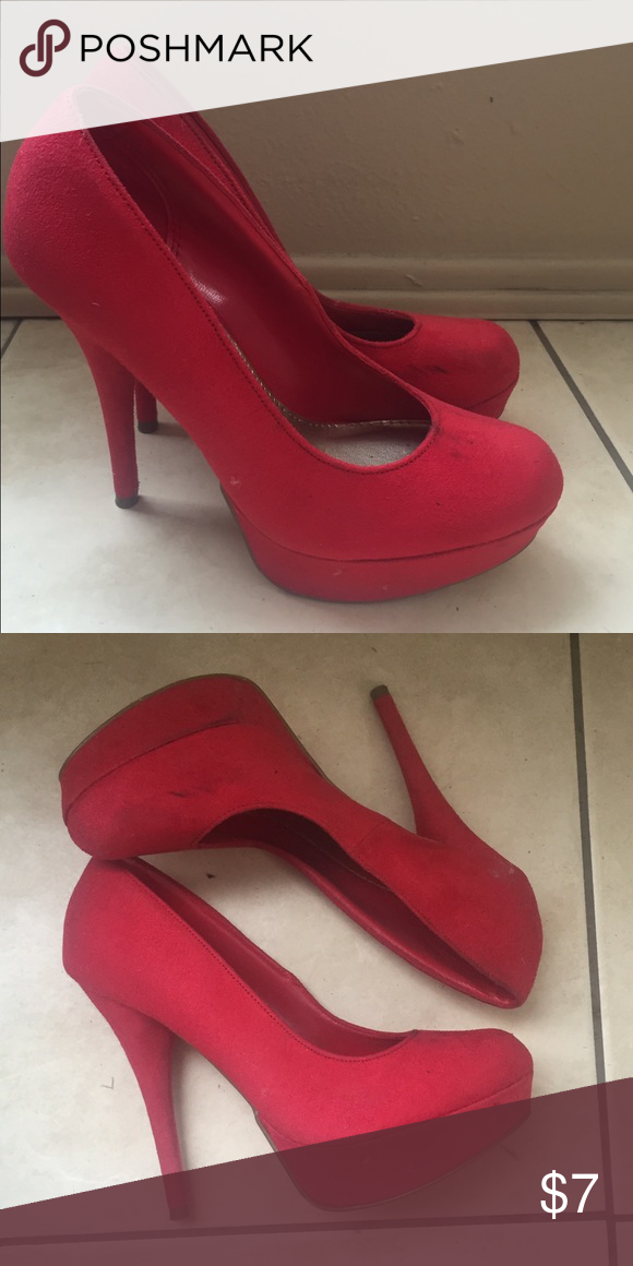 Red suede pumps ❤️ Red suede pumps ❤️ worn once and in good condition. Slight marks on the side of the toe area, as seen in the pictures but nothing noticeable and price reflective on that ❤️ Shoes Heels