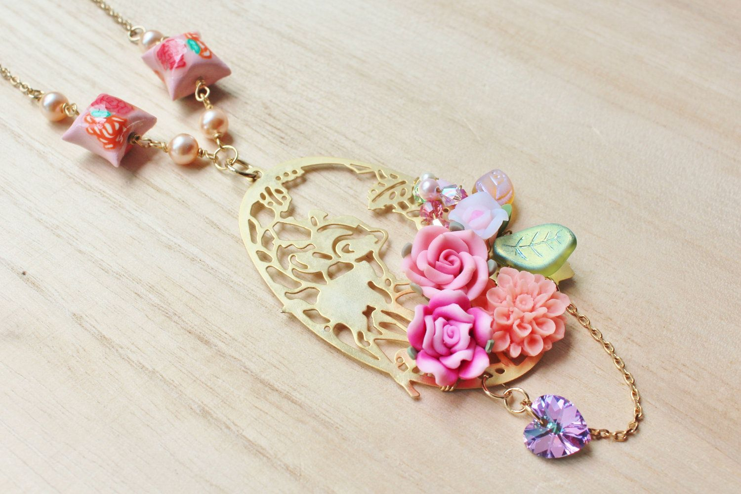 Woodland Bambi Statement Necklace - whimsical jewelry - bambi deer stamping, clay pillows, flower cabochon, clay roses & swarovski crystals. $35.00, via Etsy.