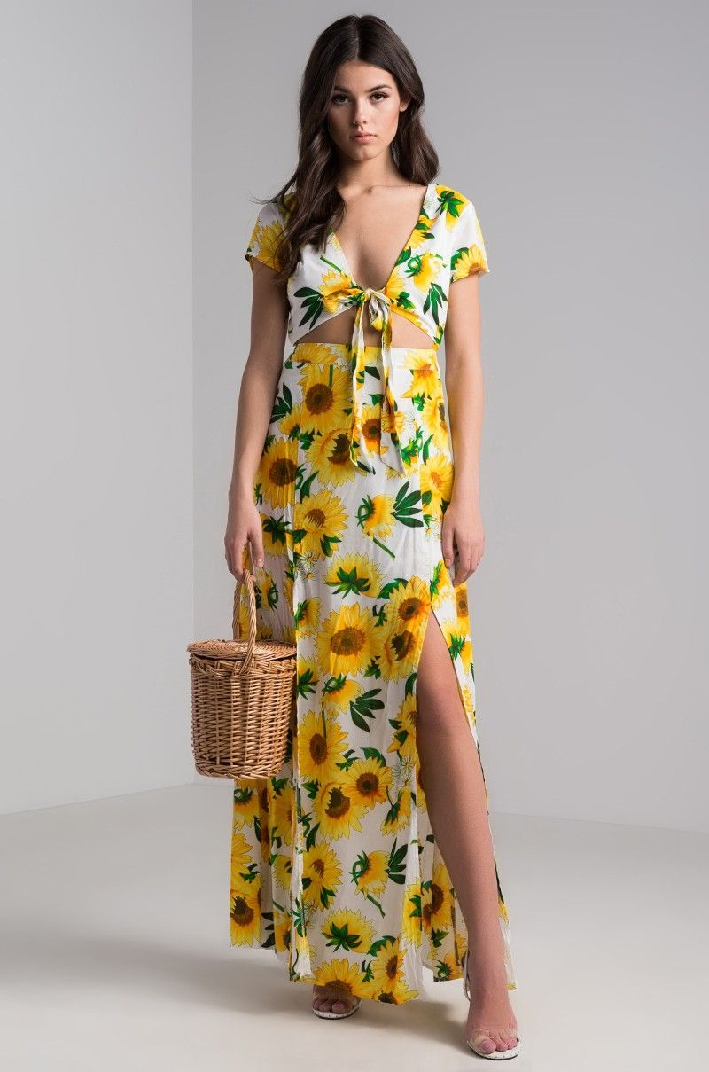 58bc08bf9ac AKIRA Short Sleeve Tie Front Open Back Long Slit Sunflower Printed Floral Maxi  Dress in Sunflower