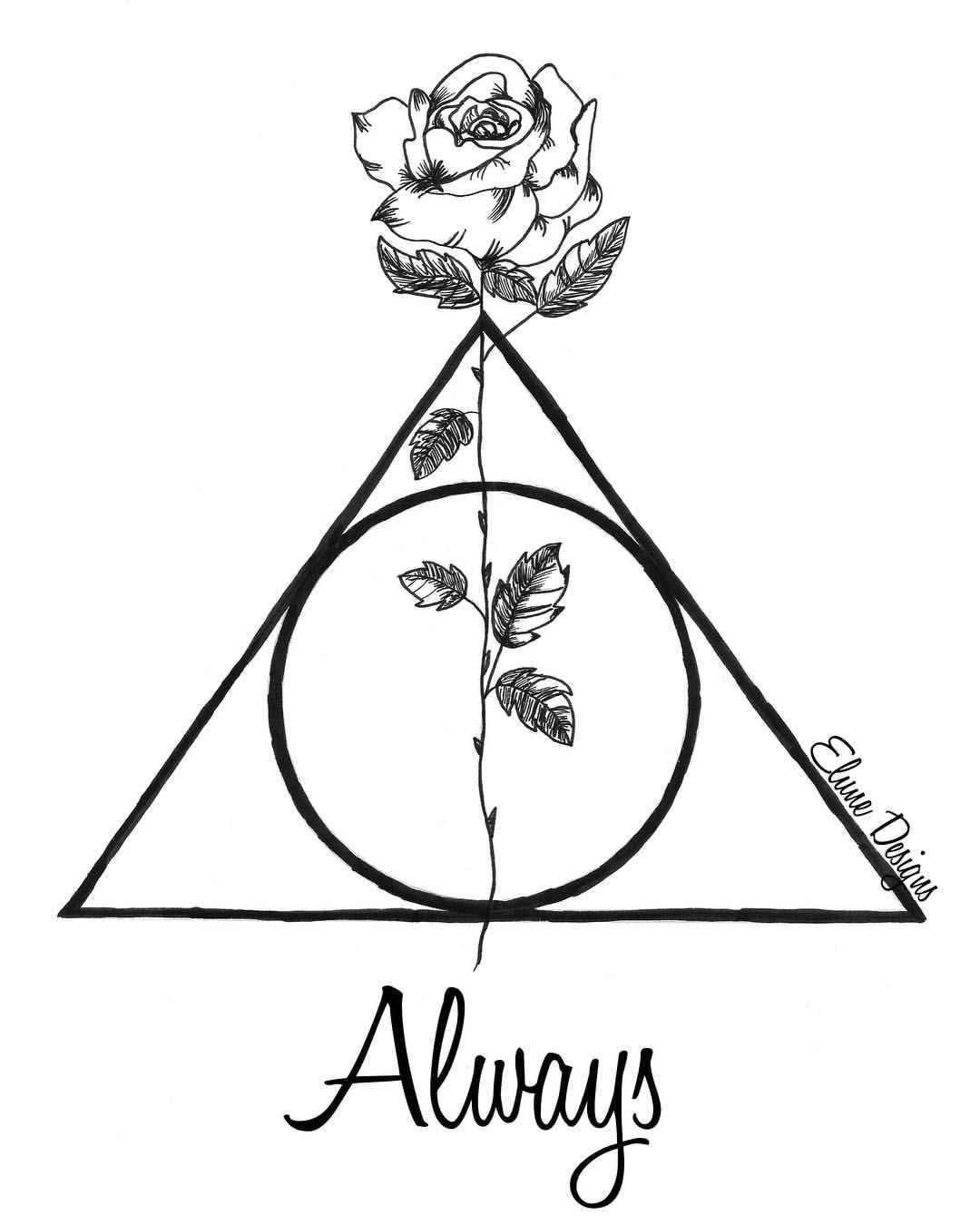 Harry Potter Deathly Hallows Symbol With Rose April Urquhart Diy Tattoo Permanent April On I Deathly Hallows Symbol Harry Potter Deathly Hallows Harry Potter