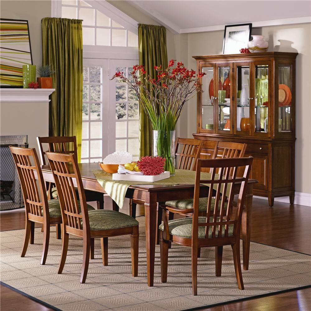 Bridges 7 Piece Rectangular Leg Dining Table Chair Set By ThomasvilleR At Darvin Furniture