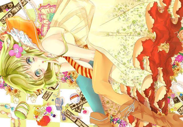 花柄ドレスを着たgumiの可愛いボカロイラスト壁紙画像 ボカロ 画像 壁紙 イラスト