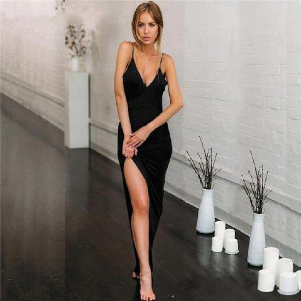 Women Dress Bodycon Deep VNeck Long High Split Sequin Backless Slim Club Wedding