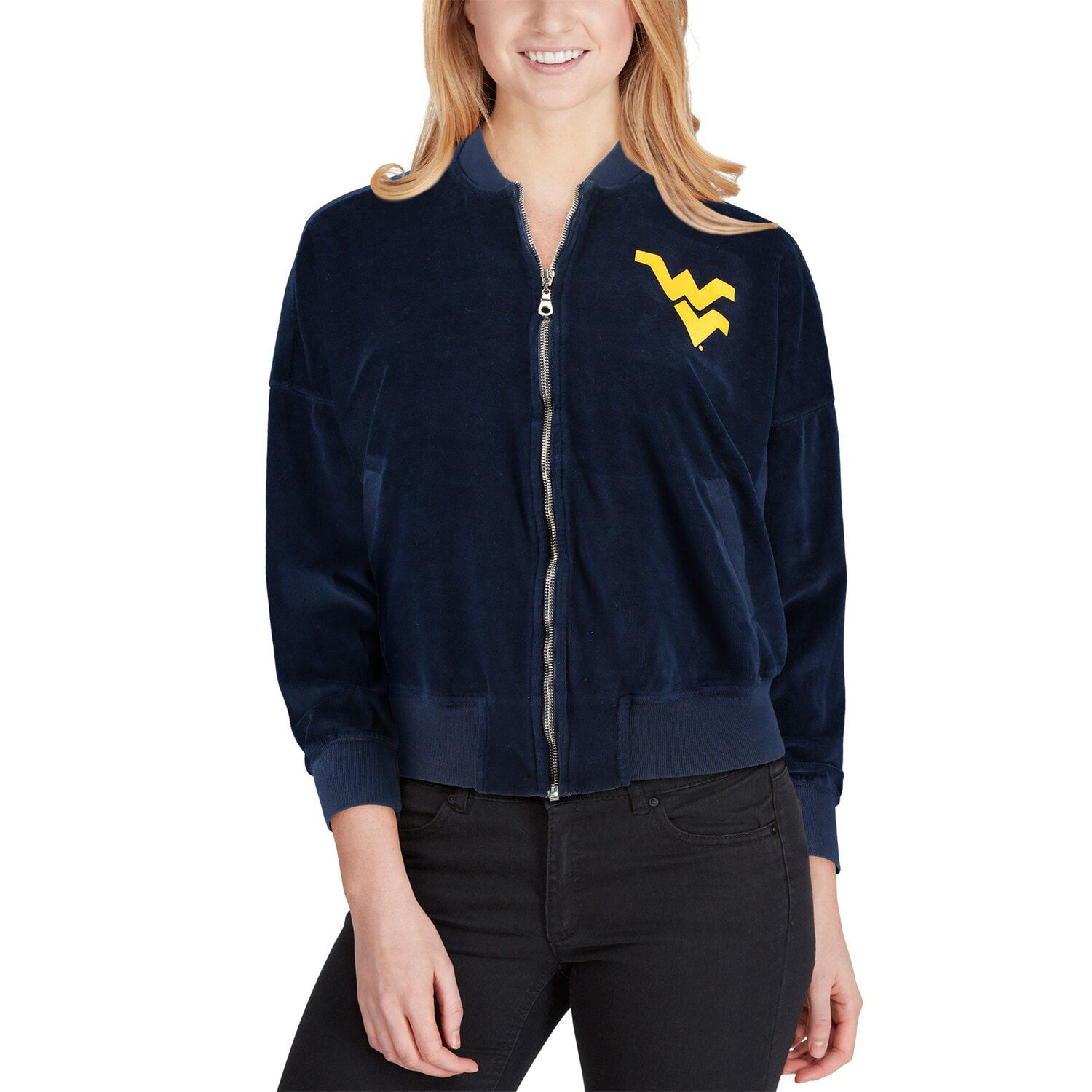 Women's Navy West Virginia Mountaineers Velour Bomber Jacket #westvirginia