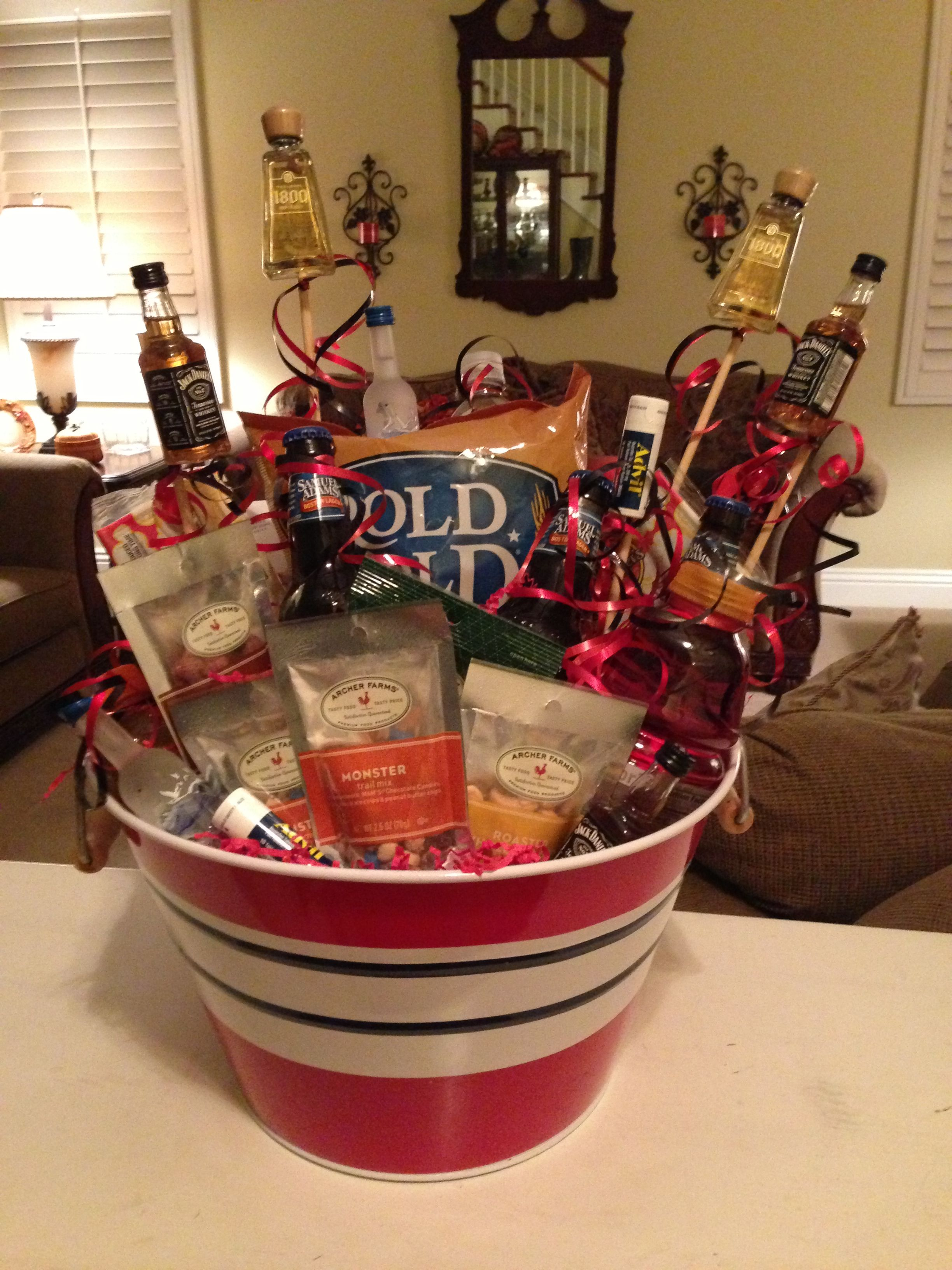 bachelor party basket! for my soon to be hubby!:) | fun | pinterest