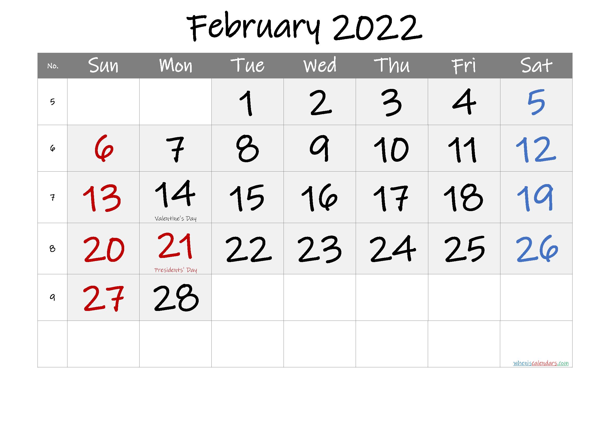 Febuary 2022 Calendar.Free Printable February 2022 Calendar Printable Calendar Template Calendar Template Calendar Printables
