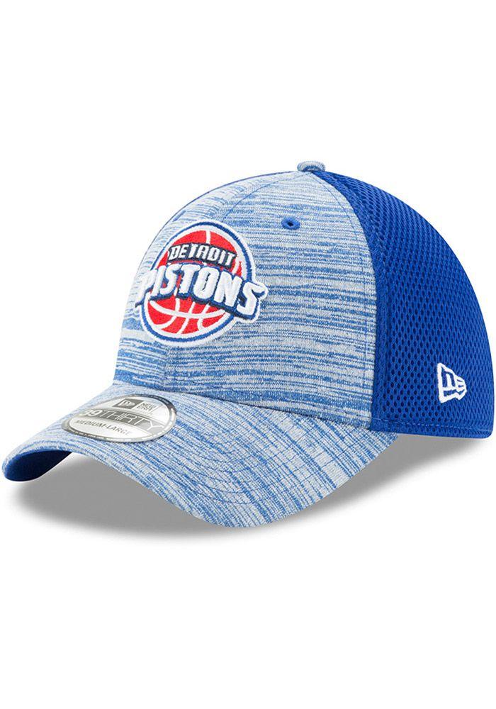 new product 1fb58 8d470 New Era Detroit Pistons Mens Blue Tonal Tint 39THIRTY Flex Hat, Blue,  COTTON SPACER MESH, Size L XL