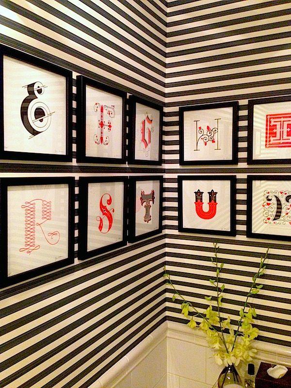 Black and white stripes plus font art make this Jill Kargman powder ...