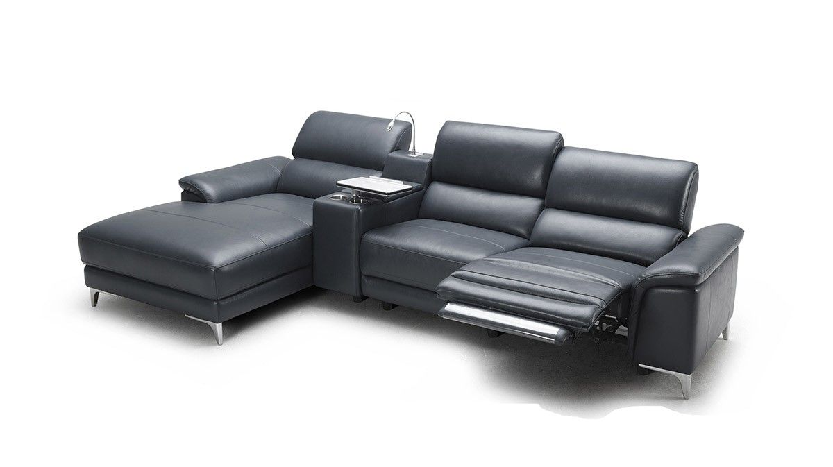 Juniper Modern Full Leather Sectional Sofa w/ Recliner ...
