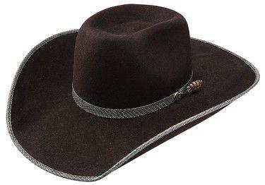 eaa452094aa Wrangler Viper Chocolate 7X Wool Felt Bound Edge Cowboy Hat