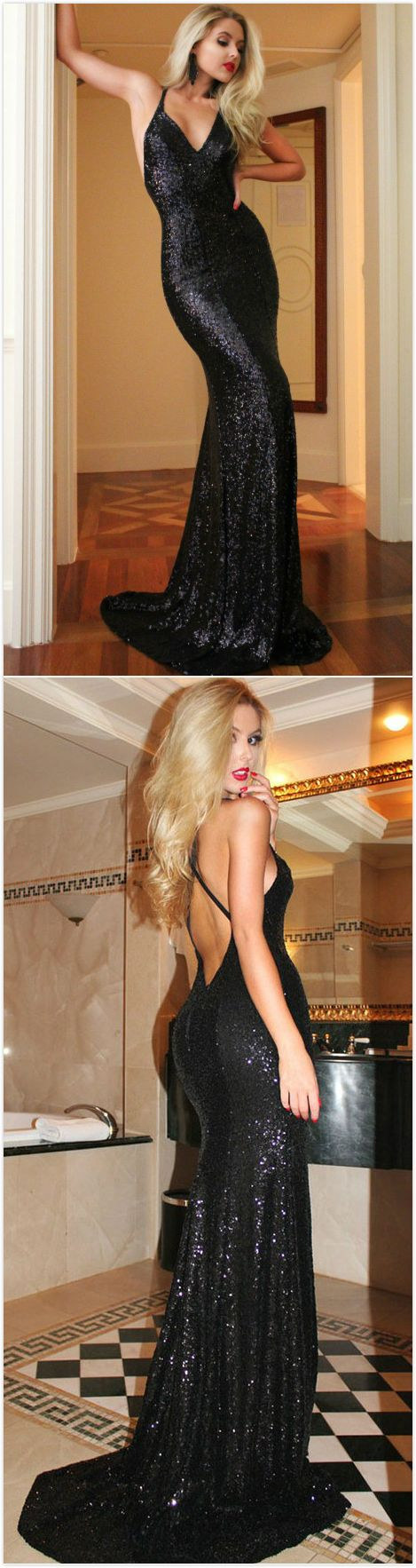 Long sexy black mermaid vneck sleeveless backless sequins prom