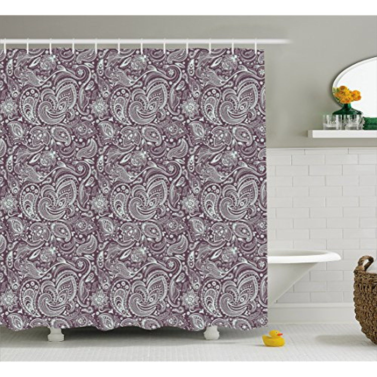 Paisley Shower Curtain by Lunarable, Abstract Ancient Motifs Paisley ...