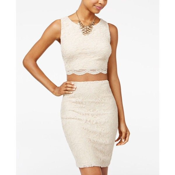 City Studios Juniors' 2 Piece Floral-Lace Bodycon Dress ($47) ❤ liked on Polyvore featuring dresses, champagne, two piece lace dress, off white lace dress, two piece bodycon dresses, lace dress and 2 piece bodycon dress
