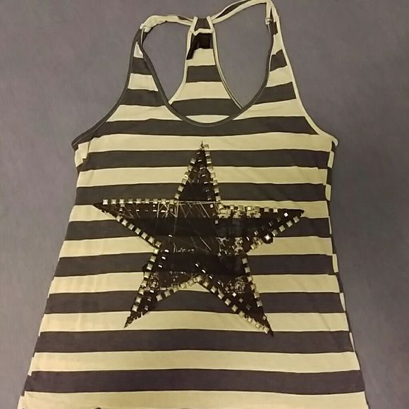 Full Tilt Star Embroidered Tank Slim fit, t-shirt material. Has black and silver bedazzles. Thin, but comfortable. Full Tilt Tops Tank Tops
