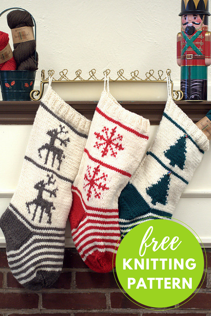 Christmas Stocking Trio Free Knitting Pattern | Weihnachten