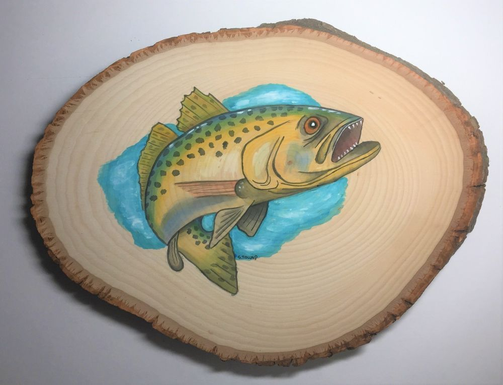 Florida Original Art Watercolor Painting Trout On Basswood Fish