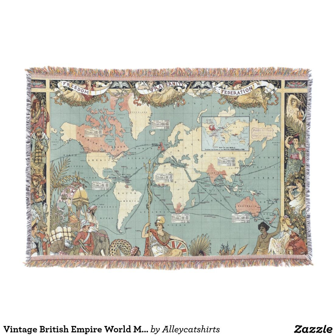 Vintage british empire world map 1886 throw blanket throw shop vintage british empire world map throw blanket created by alleycatshirts gumiabroncs Choice Image