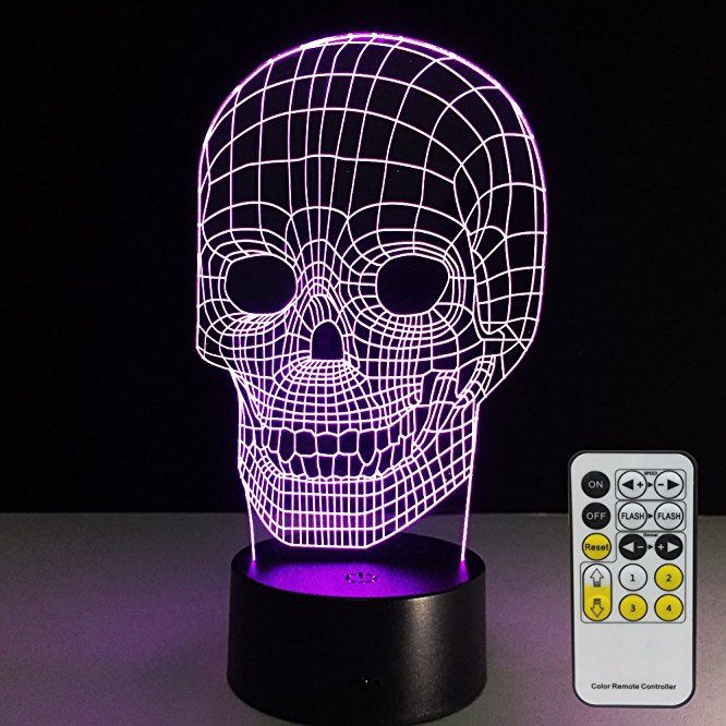Skull Lamp with Remote Controller LED Touch 7 Colors Changing Table - halloween desk decorations