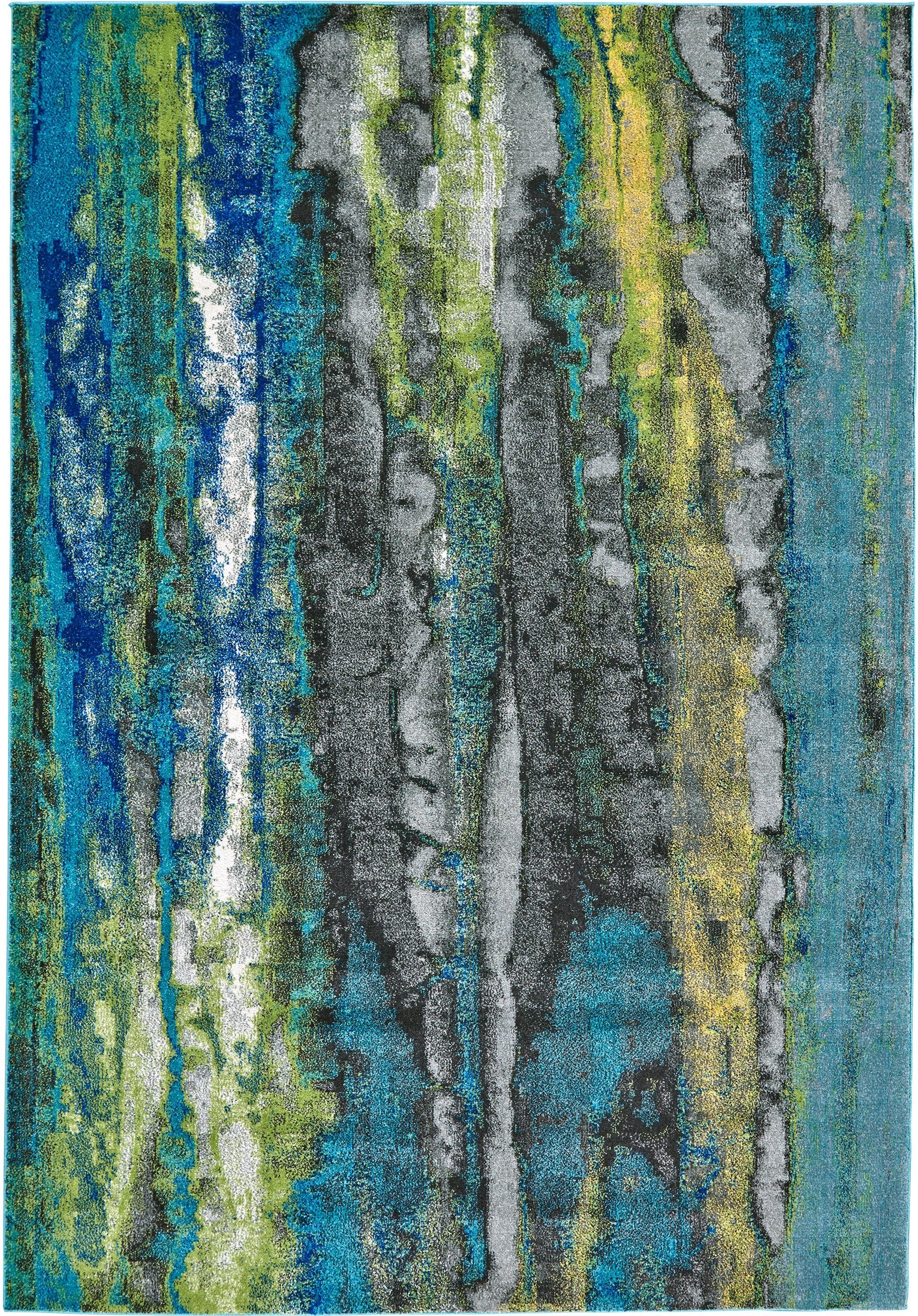 8 X 11 Large Blue Green Area Rug Brixton In 2020 Contemporary