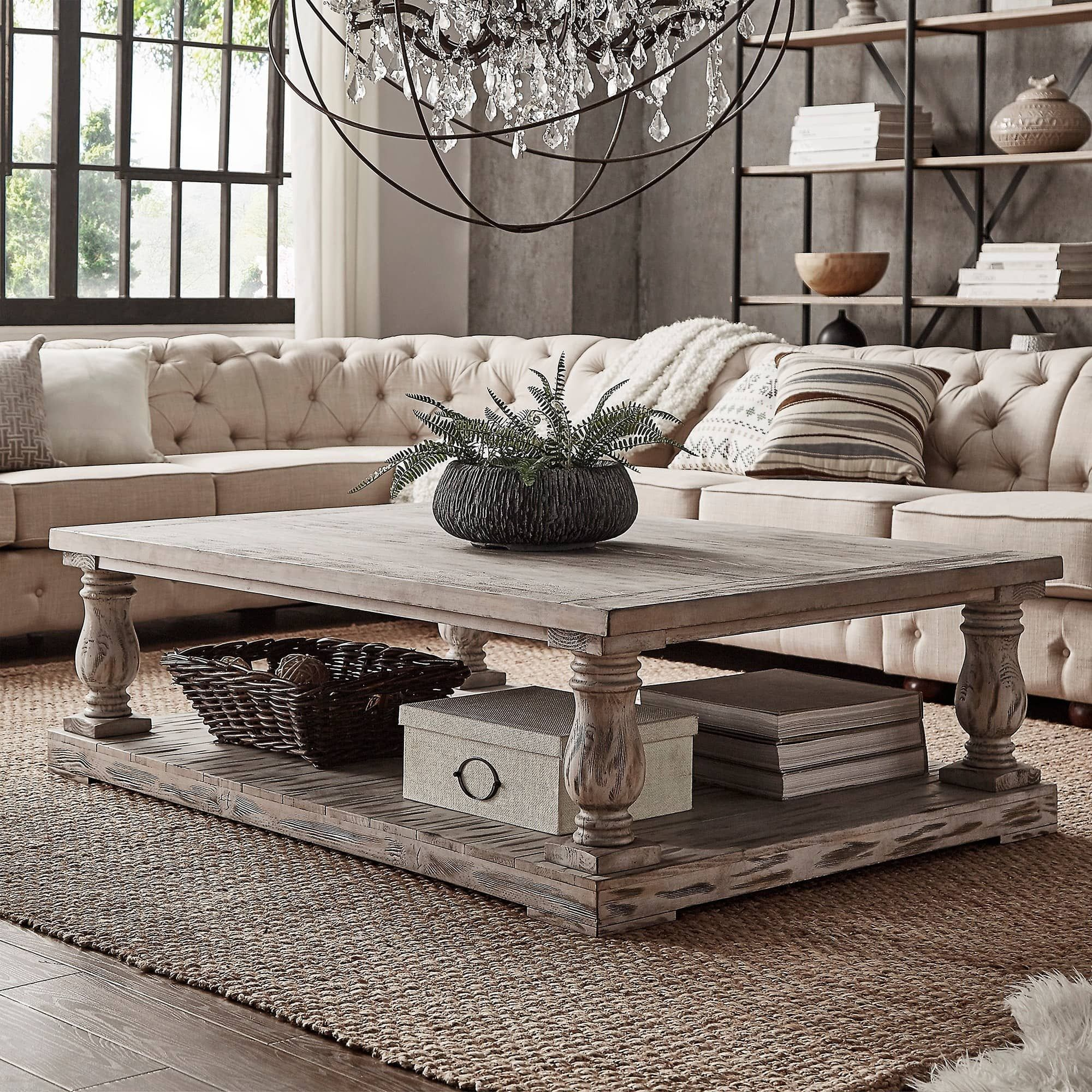 Edmaire Rustic Baluster 60-inch Coffee Table by iNSPIRE Q Artisan ...