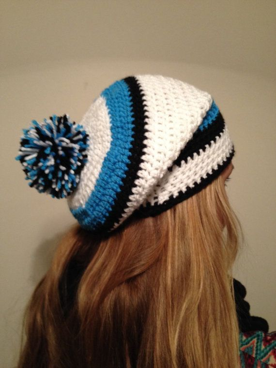 02975d9c Carolina Panther Inspired Crochet Slouch Beanie Hat | Football ...