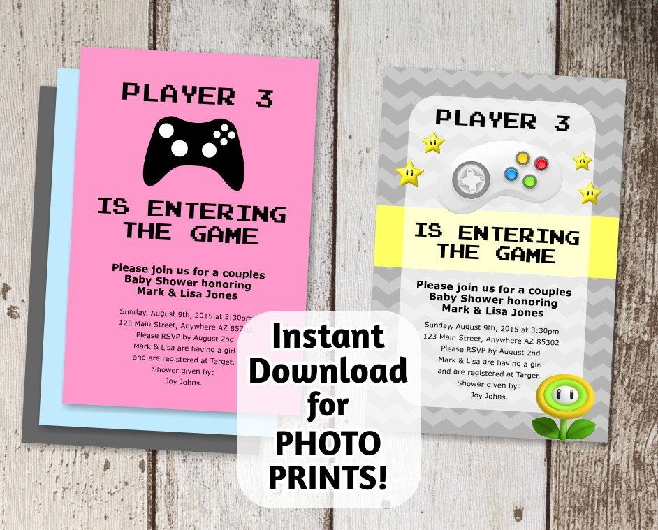 Video Game Invitation   Baby Shower   Instant Digital File Download   Use  For Photo Prints Or Card Stock   Super Mario Brothers Gamers