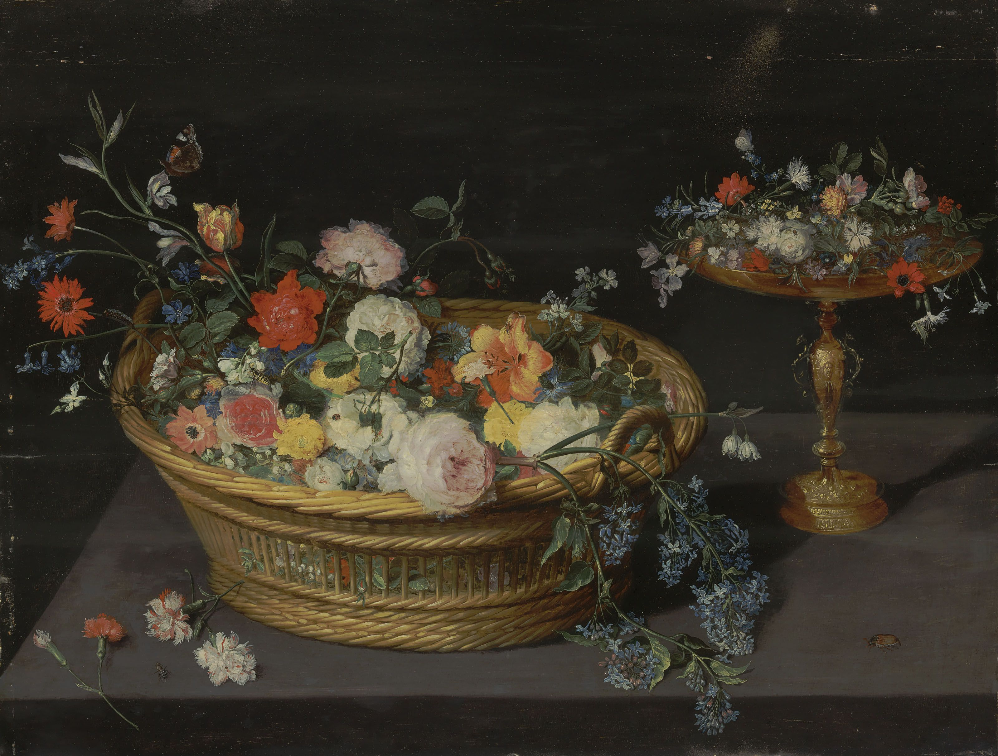 Jan Breughel Ii Antwerp 1601 1678 A Wicker Basket Of Roses Peonies Tulips And Other Flowers With A Silver Gilt Tazz Painting Museum Of Fine Arts Old Master