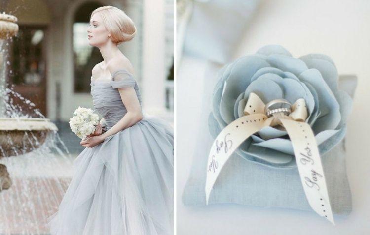 Ideen in Blau - Ringkissen in Rosenform und Brautkleid mit Tüll ...