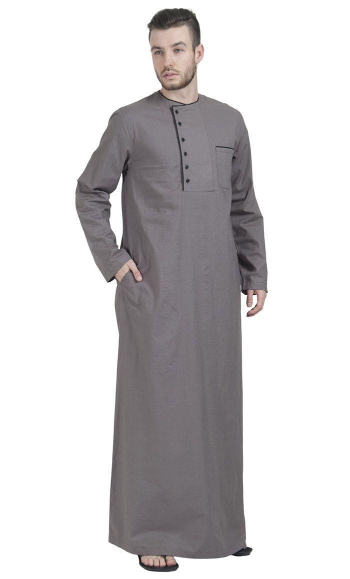 Evening Grey Dishdasha  Desain kurta, Model pakaian pria, Model