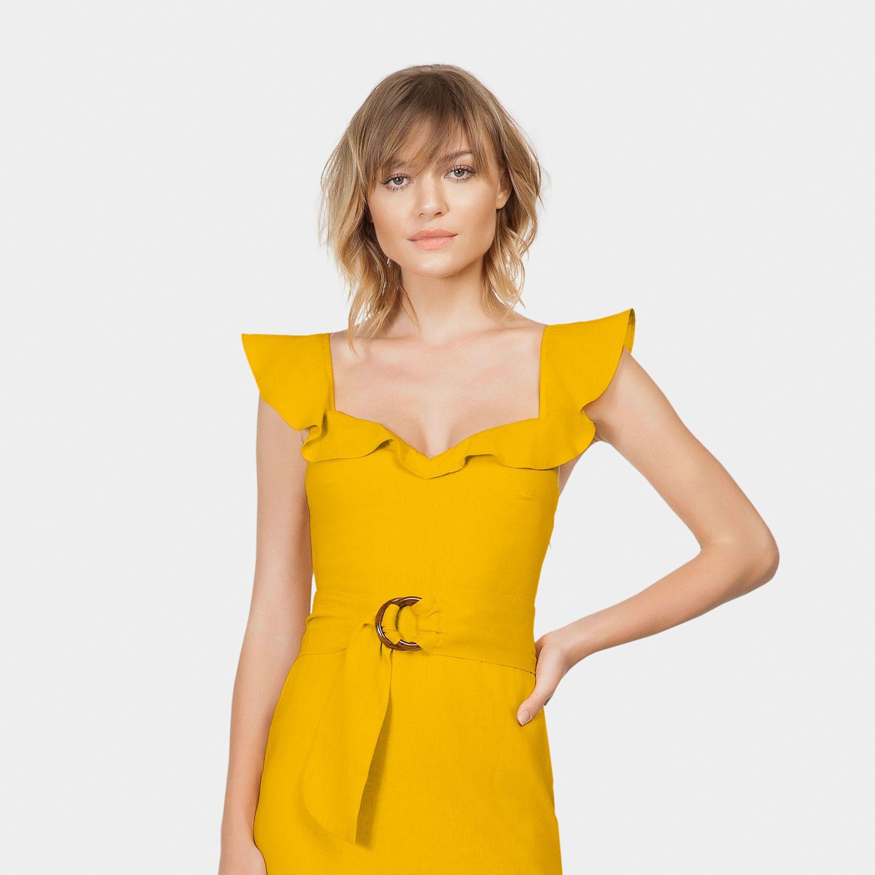 782746a08 Vestido Linho Assimétrico Cinto Amarelo Gamuza - Lez a Lez | boa ...