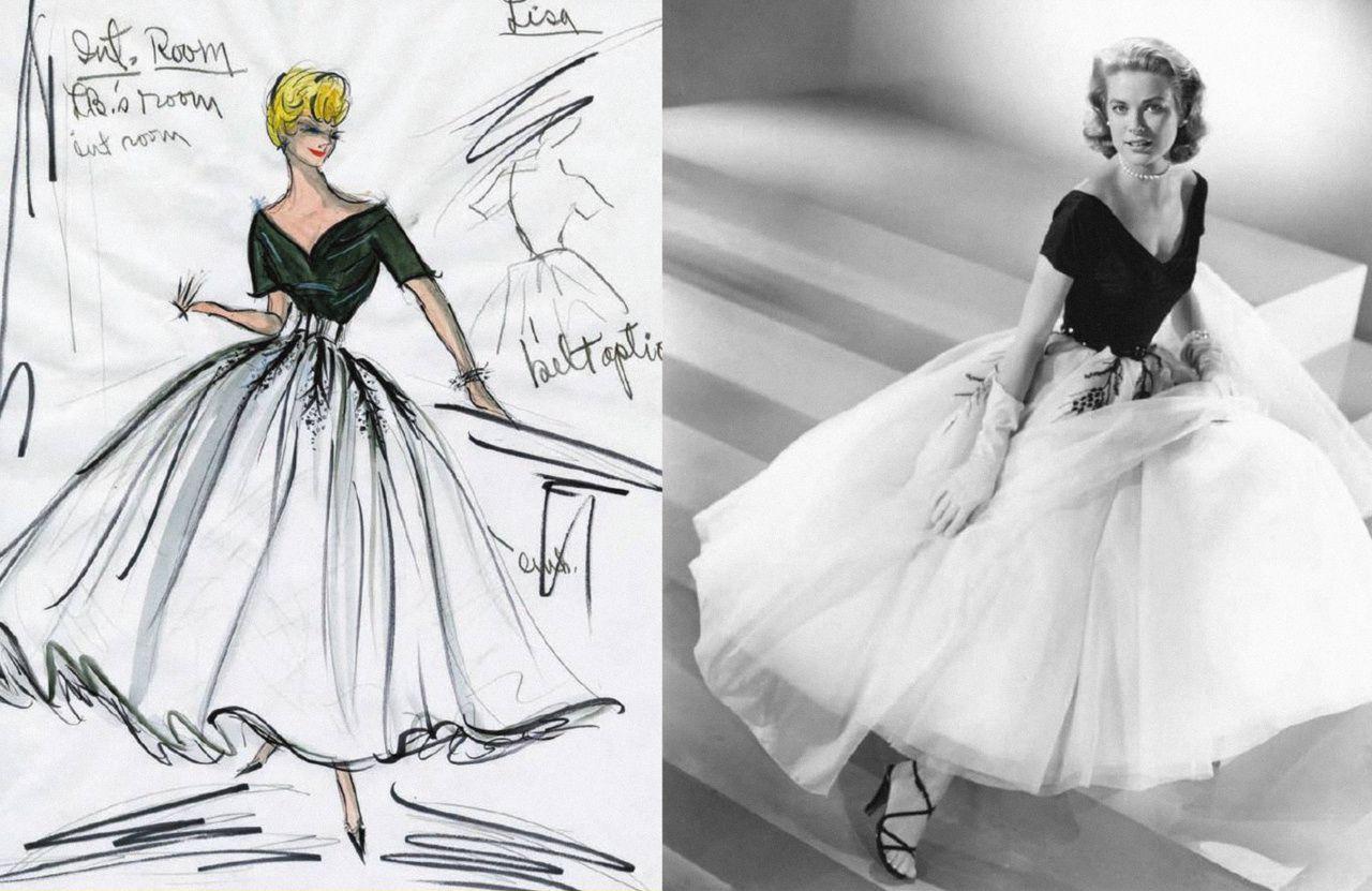 Edith Head costume design sketch for Rear Window (1954), along ...
