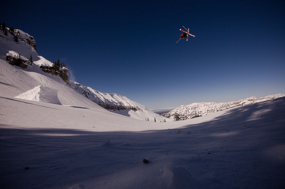 Professional skier Tanner Rainville in the air in the