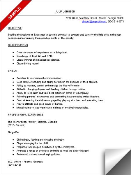babysitter resume sample - Baby Sitter Resume