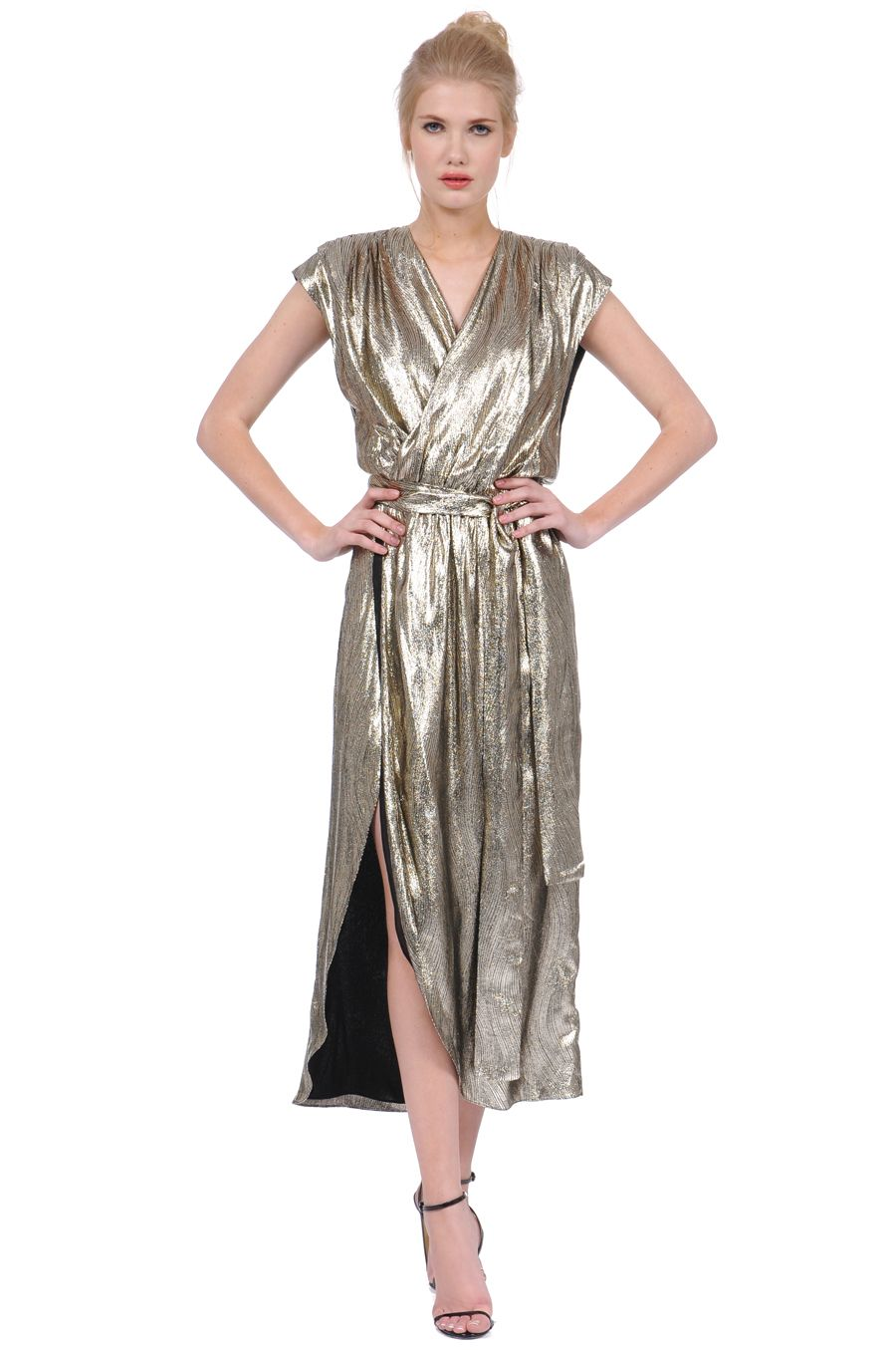 The Disco Wrap Dress In Metallic Cold More Like Liquid Gold Really