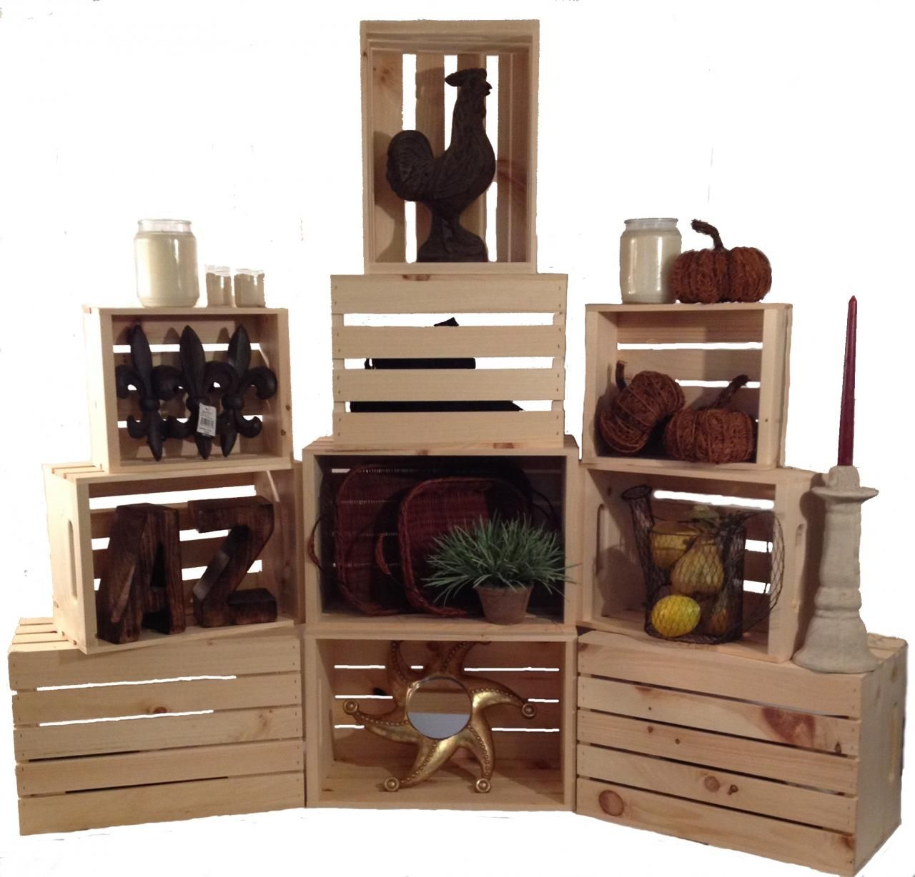 Rustic Stacking Crates Wood Retail Display Homegoods Giftshop General Store Retail Fixtures Stackable Crat Furniture Store Window Display Shelves Wood Display