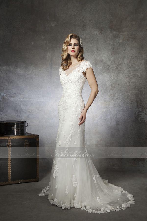 Etui Rundhals-Ausschnitt Spitze klassisches Brautkleid mit Kapelle ...
