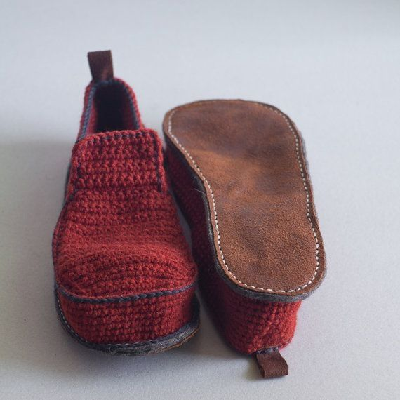 Photo of Items similar to Slippers with Leather Sole in rusty red – above the ankle – all adult shoe sizes US 4-12 EUR 35-46 on Etsy
