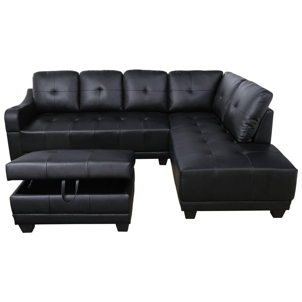 Star Home Living Mike Black Right Facing Sectional Sofa With